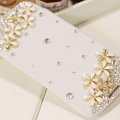 Flower Bling Battery Case Leather Cover for Samsung Galaxy S5 i9600 - White