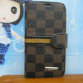 LV LOUIS VUITTON Classic plaid leather case Holster cover for Samsung Galaxy S5 i9600 - Brown