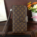 LV LOUIS VUITTON leather flip case Holster cover for Samsung Galaxy S5 i9600 - Brown