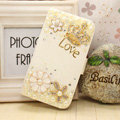 Love Bling Holster Case Leather Cover for Samsung Galaxy S5 i9600 - White