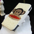 Luxury Paul Frank Bling Crystal Case Holster Leather Cover for Samsung Galaxy S5 i9600 - White
