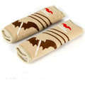 Best Batman Cartoon Car Seat Safety Belt Covers Plush Velvet Cotton Auto Decoration 2pcs - Beige