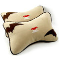 Best Cute Batman Cartoon Car Neck Pillows Plush Velvet Cotton Auto Decoration Interior 2pcs - Beige