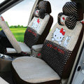 Best Oulilai Hello Kitty Polka Dot Universal Automobile Car Seat Cover Sandwich 18pcs - Brown