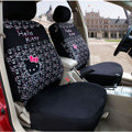 Classic Cartoon Hello Kitty Universal Cotton Cloth Auto Car Seat Cover 10pcs Sets - Black