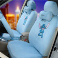 Classic Cartoon Universal Stitch Disney Plush Velvet Auto Car Seat Cover 18pcs Sets - Blue
