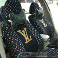 Classic LV Louis Vuitton Universal Auto Car Seat Cover Sets Cotton 10pcs - Black
