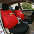 Cute Cartoon Garfield Universal Cotton Cloth Auto Car Seat Cover 10pcs Sets - Red