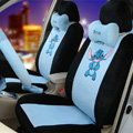 Cute Cartoon Universal Stitch Disney Plush Velvet Auto Car Seat Cover 18pcs Sets - Black
