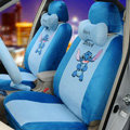 Cute Cartoon Universal Stitch Disney Plush Velvet Auto Car Seat Cover 18pcs Sets - Blue