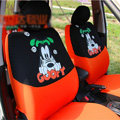 Cute Goofy Disney Cartoon Universal Auto Car Seat Cover Sets Cotton Cloth 10pcs - Orange