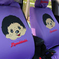 Cute Monchhichi Cartoon Universal Auto Car Seat Cover Sets Cotton Cloth 10pcs - Purple