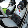 Cute Oulilai Hello Kitty Polka Dot Universal Automobile Car Seat Cover Sandwich 18pcs - Black