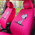 Cute Snoopy Cartoon Universal Auto Car Seat Cover Sets Cotton Cloth 10pcs - Red