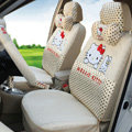 Fashion Oulilai Hello Kitty Polka Dot Universal Automobile Car Seat Cover Sandwich 18pcs - Beige