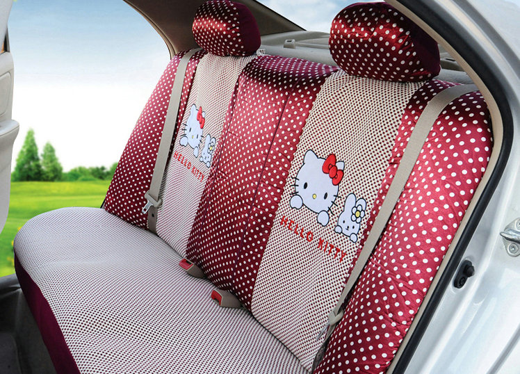 buy wholesale funky oulilai hello kitty polka dot universal automobile car seat cover sandwich. Black Bedroom Furniture Sets. Home Design Ideas