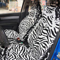 Funky Zebra Print Female Lace Bud Silk Universal Cotton Cloth Auto Car Seat Cover 10pcs Sets - White