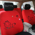High Quality Cartoon Garfield Universal Cotton Cloth Auto Car Seat Cover 10pcs Sets - Red