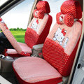 Pretty Oulilai Hello Kitty Polka Dot Universal Automobile Car Seat Cover Sandwich 18pcs - Red