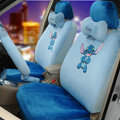 Unique Cartoon Universal Stitch Disney Plush Velvet Auto Car Seat Cover 18pcs Sets - Blue
