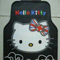 British Flag Hello Kitty Rose Flower Universal Automobile Carpet Car Floor Mats Rubber 5pcs Sets - Black