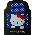 Classic Hello Kitty Cartoon Cute Universal Auto Carpet Car Floor Mats Rubber 5pcs Sets - Blue
