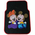Classic Mickey Minnie Mouse Cartoon Disney Universal Auto Carpet Car Floor Mats Rubber 5pcs Sets - Black