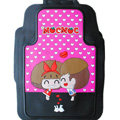Classic Mocmoc Cartoon Cute Universal Auto Carpet Car Floor Mats Rubber 5pcs Sets - Pink
