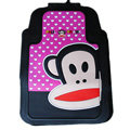 Classic Paul Frank Cartoon Cute Universal Auto Carpet Car Floor Mats Rubber 5pcs Sets - Pink