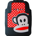 Classic Paul Frank Cartoon Cute Universal Auto Carpet Car Floor Mats Rubber 5pcs Sets - Red