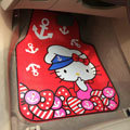 Cute Hello Kitty Cartoon Navy Universal Automobile Carpet Car Floor Mats Rubber 5pcs Sets - Red