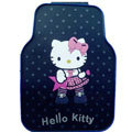 Cute Hello Kitty Cartoon Star Universal Automobile Carpet Car Floor Mats Rubber 5pcs Sets - Black