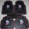 Cute Hello Kitty Cartoon Wing Universal Automobile Carpet Car Floor Mats Rubber 5pcs Sets - Pink
