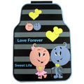 Cute Love Forever Cartoon Sweet Universal Automobile Carpet Car Floor Mats Rubber 5pcs Sets - Gray