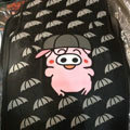 Cute Pig Cartoon Universal Automotive Carpet Car Floor Mats Rubber 5pcs Sets - Black