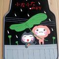 Cute Sky Cartoon Rain Universal Automobile Carpet Car Floor Mats Rubber 5pcs Sets - Black