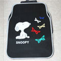 Cute Snoopy Cartoon Butterfly Universal Automobile Carpet Car Floor Mats Rubber 5pcs Sets - Black