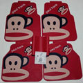 Elegant Paul Frank Cartoon Universal Automotive Carpet Car Floor Mats Rubber 5pcs Sets - Red