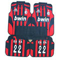 High Quality AC Milan Sprots KaKa Universal Auto Carpet Car Floor Mats Rubber 5pcs Sets - Red