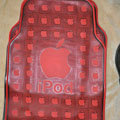 High Quality Apple iPod Universal Automobile Carpet Car Floor Mats Rubber 5pcs Sets - Red