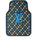 High Quality LV Louis Vuitton Classic Universal Automotive Carpet Car Floor Mats Rubber 5pcs Sets - Blue