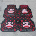 High Quality Paul Frank Cartoon Heart Universal Automotive Carpet Car Floor Mats Rubber 5pcs Sets - Red