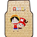 One Piece Monkey D Luffy Cartoon Universal Automotive Carpet Car Floor Mats Rubber 5pcs Sets - Beige