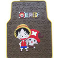 One Piece Monkey D Luffy Cartoon Universal Automotive Carpet Car Floor Mats Rubber 5pcs Sets - Brown