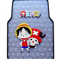 One Piece Monkey D Luffy Cartoon Universal Automotive Carpet Car Floor Mats Rubber 5pcs Sets - Transparent