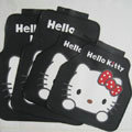 Pretty Hello Kitty Cartoon Universal Automobile Carpet Car Floor Mats Rubber 5pcs Sets - Black