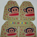 Pretty Paul Frank Cartoon Universal Automotive Carpet Car Floor Mats Rubber 5pcs Sets - Beige