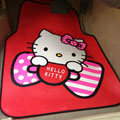 Princess Hello Kitty Cartoon Bowknot Universal Automobile Carpet Car Floor Mats Rubber 5pcs Sets - Red