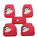 Unique Paul Frank Cartoon Universal Automotive Carpet Car Floor Mats Rubber 5pcs Sets - Red
