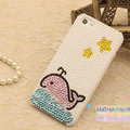 Bling Dolphin Crystal Cases Rhinestone Pearls Covers for iPhone 6 - White